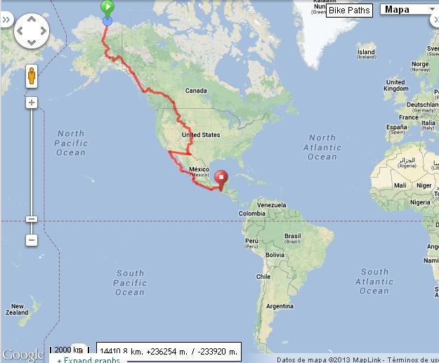 Ruta hasta ahora con sudamérica